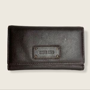 ROOTS 1973 Dark Brown Tri-Fold Leather Wallet
